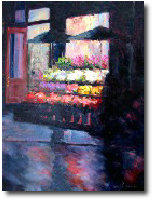 Manhattan market painting, nighttime painting, night painting